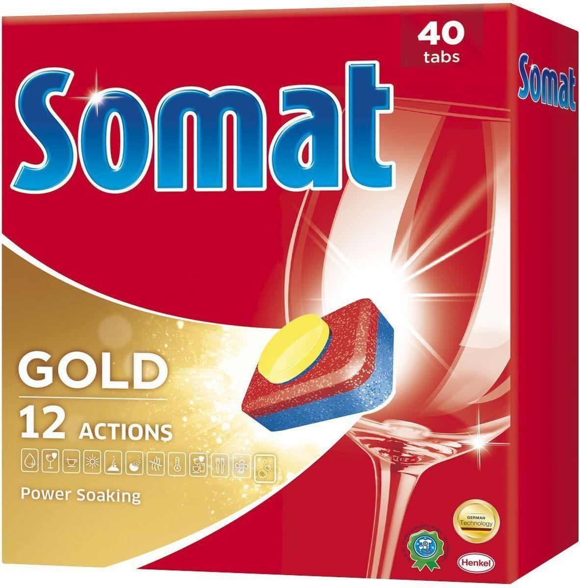 Cредство для посудомоечной машины Somat Gold, 40 шт935277Сомат Голд с миллионом активных частиц обеспечивает безупречный результат, легко справляясь с грязью и жиром и устраняя засохшие остатки пищи, как если бы вы предварительно замачивали и опласкивали посуду и включает следующие функции: Очиститель - для великолепной чистоты. Функция ополаскивателя - для сияющего блеска. Функция соли - для защиты посуды и стекла от известкового налета. Удаление пятен от чая. Защита посудомоечной машины против известковых отложений. Активная формула Эффект замачивания помогает устранить засохшие остатки пищи. Защита против коррозии стекла. Блеск нержавеющей стали и столовых приборов. Обеспечивает гигиеническую чистоту. Дозировка: 1 таблетка для любых видов загрязнений. Для очень жёсткой воды (>21 °dH) рекомендуется использовать 1 таблетку плюс Сомат соль и Сомат Ополаскиватель. Жесткость воды в вашем регионе можно узнать в службе Роспотребнадзора