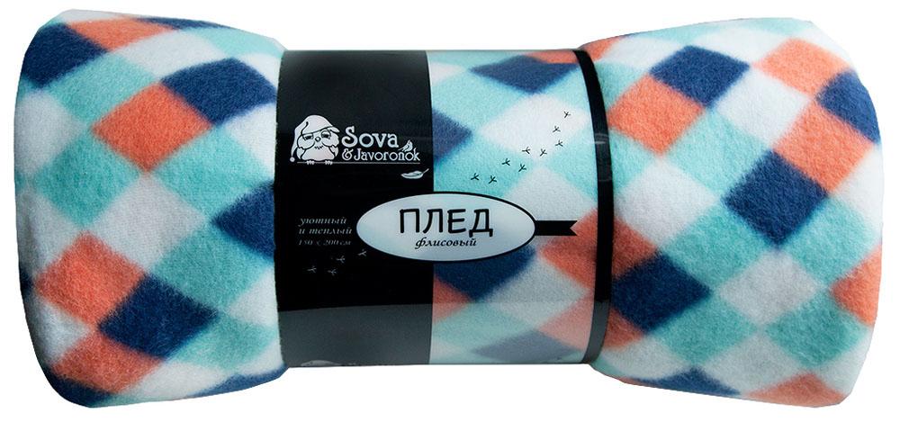 Плед Sova & Javoronok, флисовый, цвет: синий, 150 x 200 см6030116579Размер: 150*200. Состав: 100% полиэстер. Плотность: 170 г/м2. Упаковка: пластиковая с нанесением. Страна изготовителя: Россия