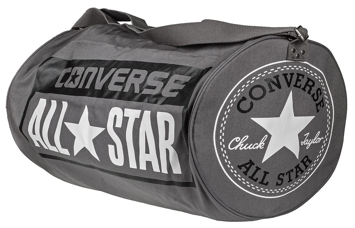 Сумка Converse Ss17 Legacy Barrel Duffel Bag, цвет: серый. 10422C410-A01-01010422C410-A01-010Сумка Converse выполнена из хлопка. Модель одним отделением, застегивается на молнию, оснащена регулируемым по длине плечевым ремнем.