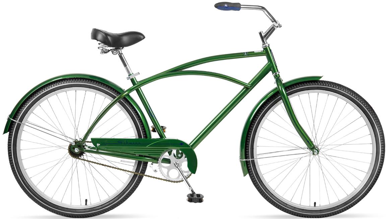 Велосипед городской Schwinn Gammon, рама 18, колеса 27,5, 1 скорость, цвет: зеленыйS4016DКлассический велосипед Schwinn Gammon создан для наслаждения неспешными прогулками по городу и паркам. Прочная стальная рама, дизайн которой пришёл к нам из 80-х, и глубокий зеленый цвет элегантно завершают облик велосипеда. Комфортное седло и широкий легкоуправляемый руль доставляет массу положительных эмоций при использовании велосипеда. Прогрессивный для этого класса велосипедов размер колёс, 27,5 дюймов, дарит Вам непревзойдённый накат и управляемость на дороге. Полноразмерные крылья защищают от брызг воды и песка из-под колёс. Полноценная защита цепи предохраняет от попадания низа одежды в цепь и звёзды. • Прочная стальная рама размером 18 • Широкий и удобный руль • Полноразмерные крылья • Полноразмерная защита цепи • Седло и руль регулируются по высоте и наклону • Подножка в комплекте • Колёса 27,5