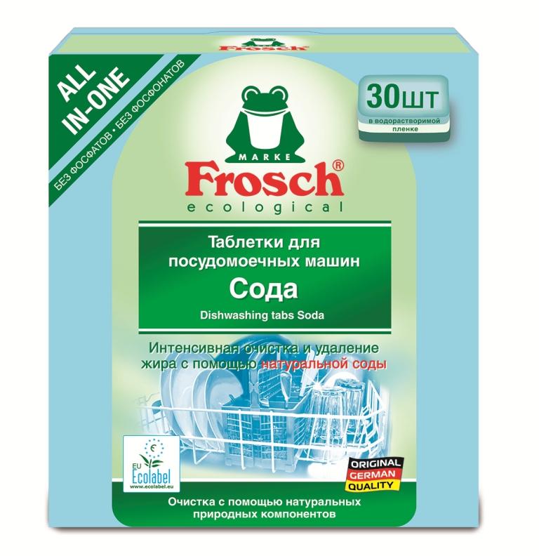 Таблетки для мытья посуды Frosch, для посудомоечной машины, 30 шт709190Таблетки Frosch предназначены для мытья посуды в посудомоечной машине. Это сильнодействующее и интенсивное средство, обладающее всеми функциями современных таблеток для идеальной чистоты и блеска посуды. Формула с натуральной содой отмывает даже засохшие остатки пищи. Предотвращает помутнение стекла и сохраняет блеск. Средство надежно предупреждает образование известкового налета. Таблетки эффективны даже при низкой температуре. Они предусмотрены специально для того, чтобы использовать правильное количество продукта в зависимости от степени загрязнения посуды. Торговая марка Frosch специализируется на выпуске экологически чистой бытовой химии. Для изготовления своей продукции Frosch использует натуральные природные компоненты. Ассортимент содержит все необходимое для бережного ухода за домом и вещами. Продукция торговой марки Frosch эффективно удаляет загрязнения, оберегает кожу рук и безопасна для...