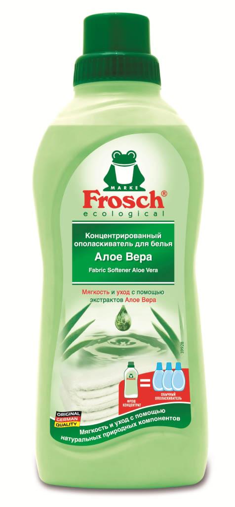 Ополаскиватель для белья Frosch, концентрированный, с Алое Вера, 750 мл709329Ополаскиватель для белья Frosch с помощью активных веществ на растительной основе смягчает волокна ткани, защищает их и сохраняет воздухопроницаемость белья. Средство подходит для хлопка, шерсти, вискозы, меланжевой ткани и синтетических волокон (например, эластана). Содержит натуральные отдушки, которые снижают риск появления раздражения на коже. Не содержит фосфата и формальдегида. Торговая марка Frosch специализируется на выпуске экологически чистой бытовой химии. Для изготовления своей продукции Frosch использует натуральные природные компоненты. Ассортимент содержит все необходимое для бережного ухода за домом и вещами. Продукция торговой марки Frosch эффективно удаляет загрязнения, оберегает кожу рук и безопасна для окружающей среды. Характеристики: Объем: 750 мл. Производитель: Германия. Товар сертифицирован.