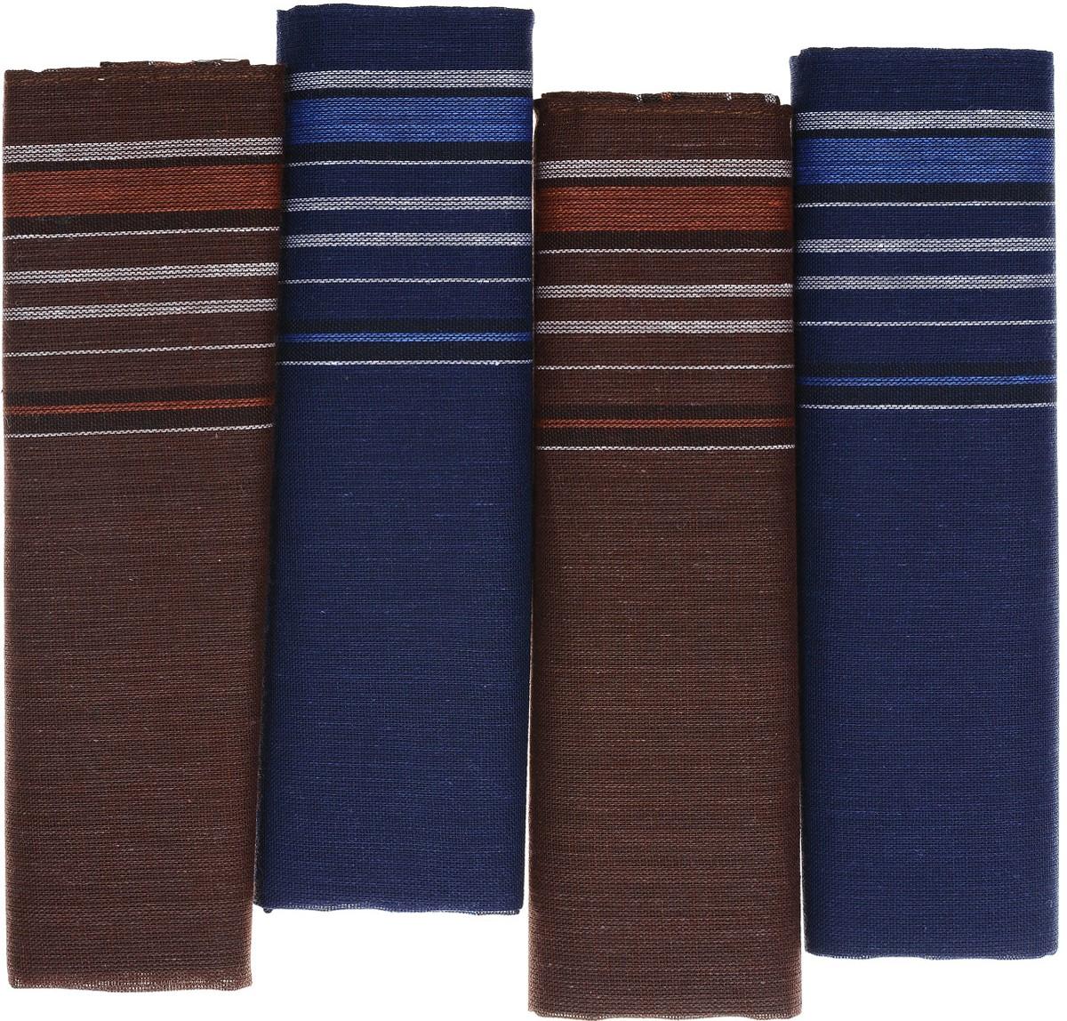 Платок носовой мужской Zlata Korunka, цвет: коричневый, синий. 71419-1. Размер 34 х 34 см, 4 шт71419-1_коричневый, синий/полоскаНосовой платок Zlata Korunka изготовлен из высококачественного натурального хлопка, благодаря чему приятен в использовании, хорошо стирается, не садится и отлично впитывает влагу. Практичный носовой платок будет незаменим в повседневной жизни любого современного человека. Такой платок послужит стильным аксессуаром и подчеркнет ваше превосходное чувство вкуса. В комплекте 4 платка.