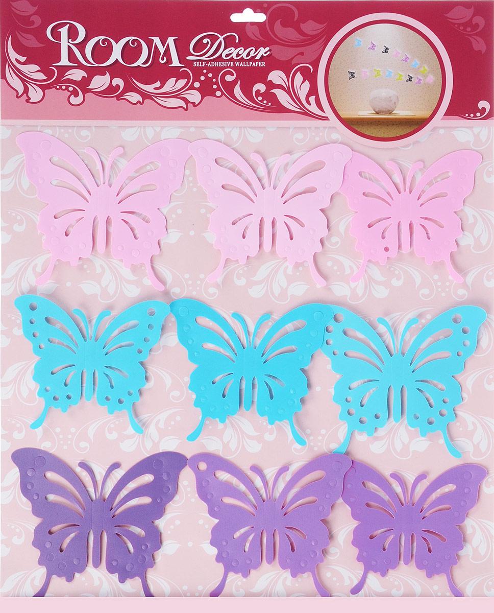 Room Decor Наклейка интерьерная Цветные бабочки300148_бирюзовыйНаклейка интерьерная - именно то, что раскрасит серые будни яркими красками. Создайте для себя и своих близких атмосферу праздника. Данный товар соответствует российским стандартам качества, вам не придётся краснеть за такой подарок.