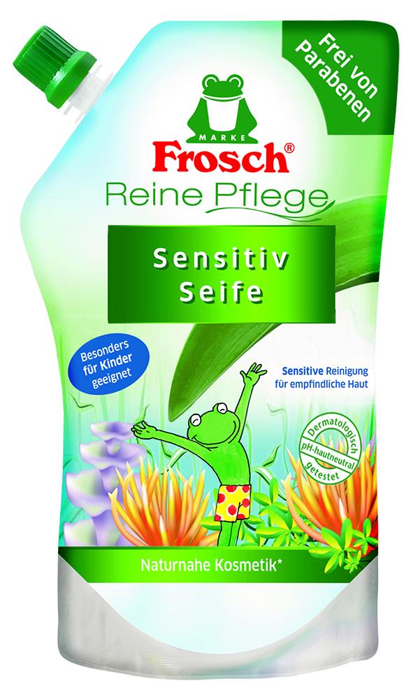 Жидкое детское мыло для рук Frosch, ухаживающее, сменная упаковка, 500 млMP59.4DДетское мыло для рук Frosch - это мягко ухаживающеемыло, нежные увлажняющие компоненты которого специально разработаны под различные потребности чувствительной детской кожи. Ухаживающее детское мыло Frosch при каждом мытье рук защищает кожу от пересушивания. Кроме того, питательные, смягчающие компоненты сохраняют естественную защиту кожи и дают приятное ощущение мягкости.Эту нежную концепцию дополняет мягкий цветочный аромат. Мыло pH-нейтрально для кожи и проверено дерматологами. Характеристики:Объем: 500 мл. Производитель: Германия. Товар сертифицирован.Уважаемые клиенты! Обращаем ваше внимание на возможные изменения в дизайне упаковки. Качественные характеристики товара остаются неизменными. Поставка осуществляется в зависимости от наличия на складе.