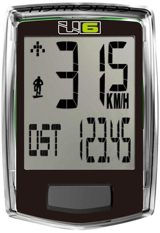 Велокомпьютер Echowell U6, проводной, 6 функций, цвет: черныйU6Проводной велокомпьютер Echowell U6 с шестью функциями в стильном корпусе предназначен для использования при занятиях велоспортом, велотуризмом и просто катании на велосипеде. Это удобный и простой в использовании электронный прибор, предоставляющий велосипедисту всю необходимую информацию о поездке. Имеет отличную водо и пылезащиту. Велокомпьютер состоит из двух частей соединенных проводом - дисплея, внешне похожего на электронные часы и датчика скорости. Дисплей крепится на руле с возможностью мгновенно отсоединить его, когда нет желания оставлять на велосипеде без присмотра или под дождем. Магнитный датчик скорости (геркон) крепится рядом с колесом. Велокомпьютер определяет скорость движения с точностью до десятых долей, дистанцию - с точностью до 10 метров. На дисплее функции поочередно сменяют друг друга. Все операции и настройки выполняются одной кнопкой. Функции: скорость текущая, скорость средняя, изменение скорости, дистанция ...