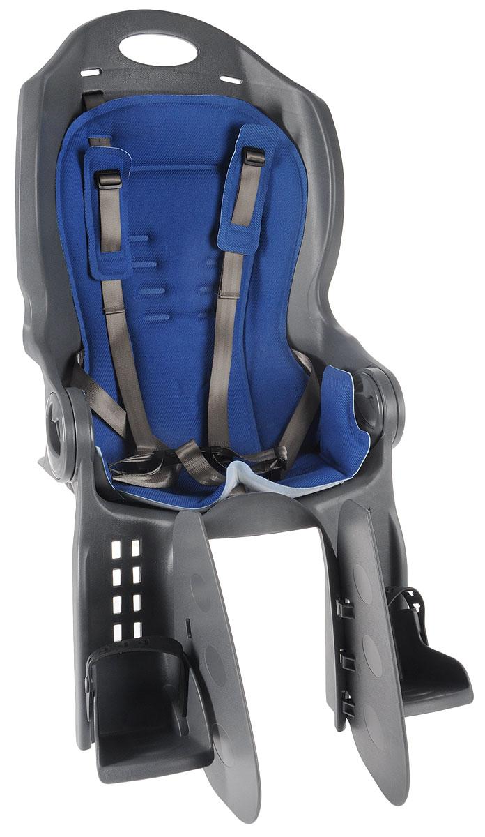 Велокресло детское Stern, на раму, цвет: серый, синий. S17ESTBA081-AMCKC-4_S17ESTBA081-AMКресло Stern предназначено для транспортировки детей на велосипеде. Пятиточечные ремни безопасности имеют дополнительный кронштейн, который фиксируется в районе груди и обеспечивает большую безопасность ребенку. Оснащено регулируемыми по высоте подножками с фиксатором ноги. Система регулировки угла наклона спинки обеспечивает удобство ребенку. Высокая спинка и мягкая прокладка кресла обеспечивает максимально комфортную посадку. Кресло соответствует Европейским стандартам качества. Устанавливается на багажник. Подходит для детей весом до 22 кг.