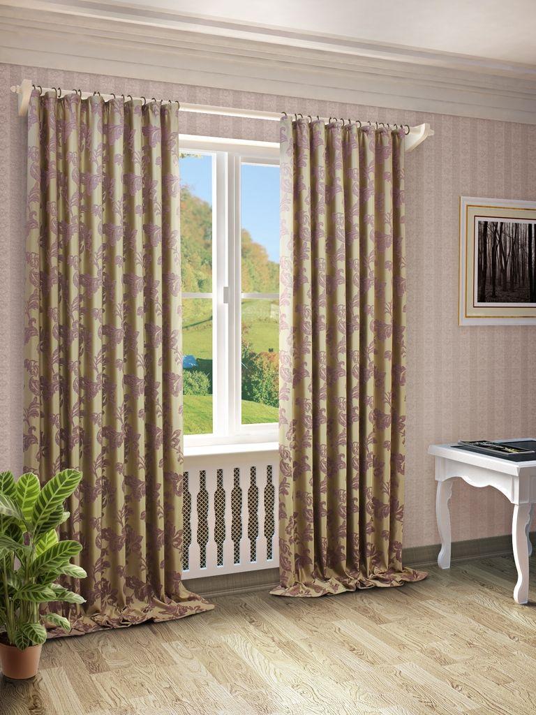 Штора Sanpa Home Collection Сьюзен, на ленте, цвет: сиреневый, высота 280 смHP66001/3/1Е Сьюзен сиреневый, , 200*280 см