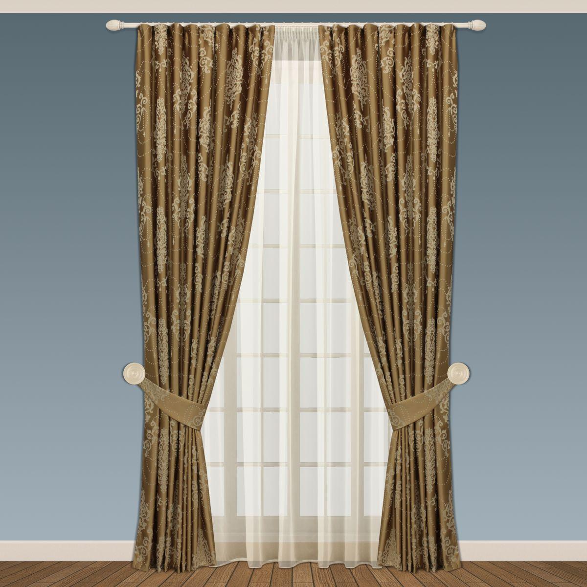 Комплект штор Sanpa Home Collection Стефани, на ленте, цвет: золотистый, высота 280 смКШСТЕФАНИ, золотистый шторы, , 200*280см -2шт + подхваты