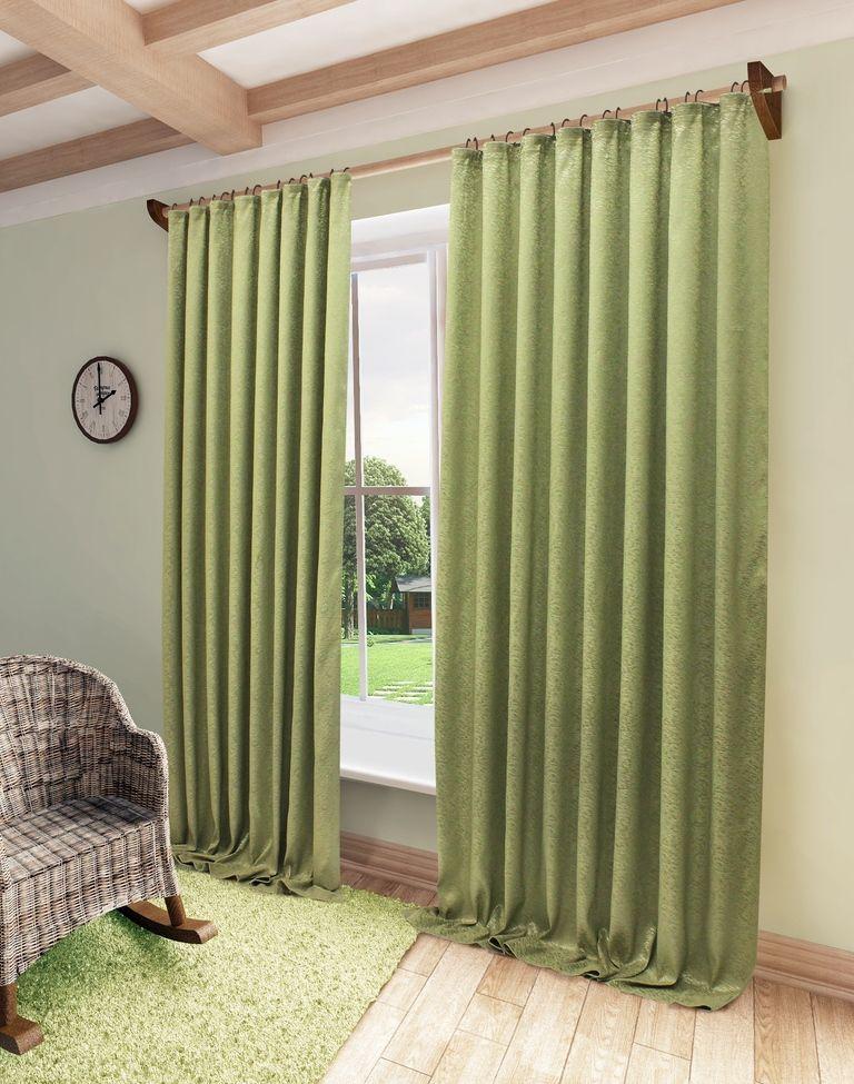 Штора Sanpa Home Collection Шерил, на ленте, цвет: зеленый, высота 270 смHP71016/9751/1E Шерил зеленый, , 200*270 см