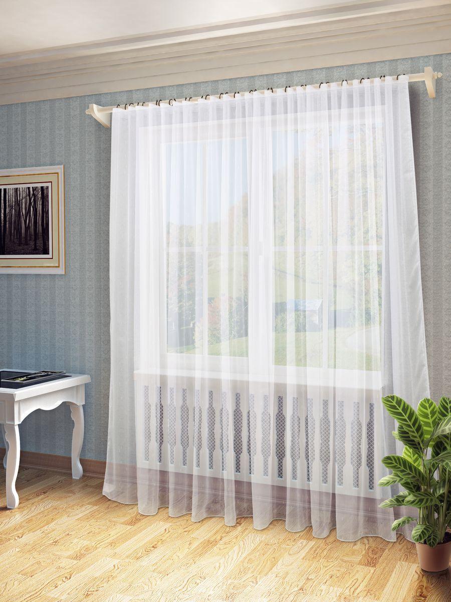Тюль Sanpa Home Collection Долорес, на ленте, цвет: белый, высота 280 смS03301004Тюль Долорес нежного цвета в классическом однотонном исполнении изготовлена из ткани вуаль. Воздушная ткань привлечет к себе внимание и идеально оформит интерьер любого помещения. Ткань вуаль - это гладкая, тонкая, полупрозрачная ткань, изготавливаемая из хлопка, шерсти, шёлка или полиэстера путём полотняного переплетения нитей. Крепление к карнизу осуществляется при помощи вшитой шторной ленты.