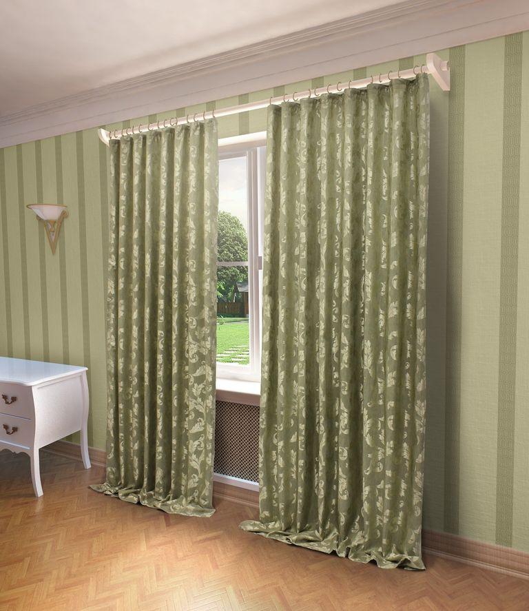Штора Sanpa Home Collection Алисия, на ленте, цвет: зеленый, высота 280 смHP10059/9/1E Алисия зелен, , 200*280 см