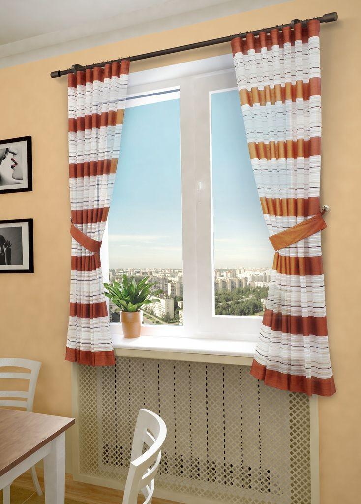 Комплект штор Sanpa Home Collection Зебра, на ленте, цвет: терракотовый, высота 180 смHP20288/7/1E Зебра терракот, , 145*180(2шт)+подхваКомплект штор Зебра, выполненный из вуали, великолепно украсит любое окно. Комплект состоит из двух штор и двух подхватов. Оригинальный рисунок и приятная цветовая гамма привлекут к себе внимание и органично впишутся в интерьер помещения. Этот комплект будет долгое время радовать вас и вашу семью! В комплект входит: Штора: 2 шт. Размер (Ш х В): 145 см х 180 см. Подхват: 2 шт.