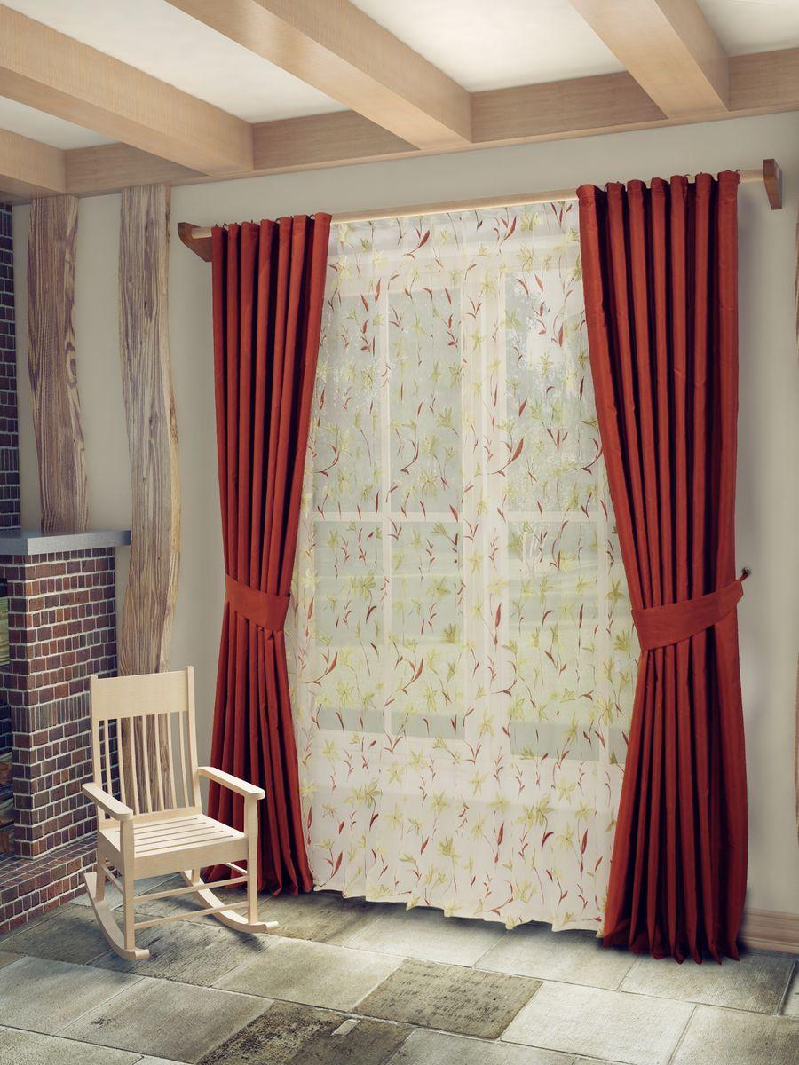 Комплект штор Sanpa Home Collection Лили, на ленте, цвет: терракотовый, высота 260 смКШЛИЛИ(23), терракот, , 170*260/400*260см+подхваКомплект штор Лили, великолепно украсит любое окно. Комплект состоит из тюля, двух штор и двух подхватов. Оригинальный рисунок и приятная цветовая гамма привлекут к себе внимание и органично впишутся в интерьер помещения. Этот комплект будет долгое время радовать вас и вашу семью! В комплект входит: Тюль: 1 шт. Размер (Ш х В): 400 см х 260 см. Штора: 2 шт. Размер (Ш х В): 170 см х 260 см. Подхват: 2 шт.