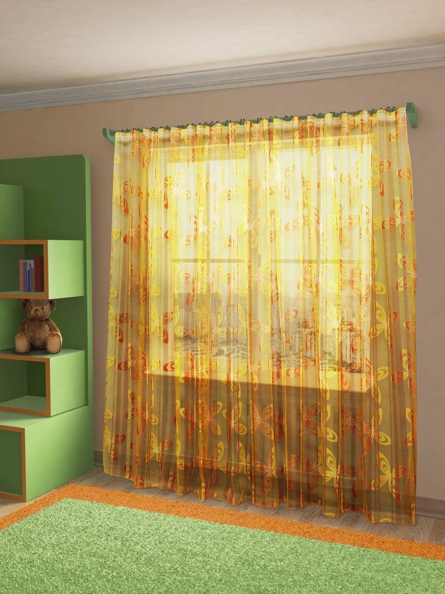 Тюль Sanpa Home Collection Кимми, на ленте, цвет: оранжевый, высота 260 смS03301004Тюль Sanpa Home Collection Кимми из легкой ткани органзы-деворе с принтованным рисунком. Тип крепления - шторная лента.Размер: ширина 300 см, высота 260 см. В упаковке 1 тюль.