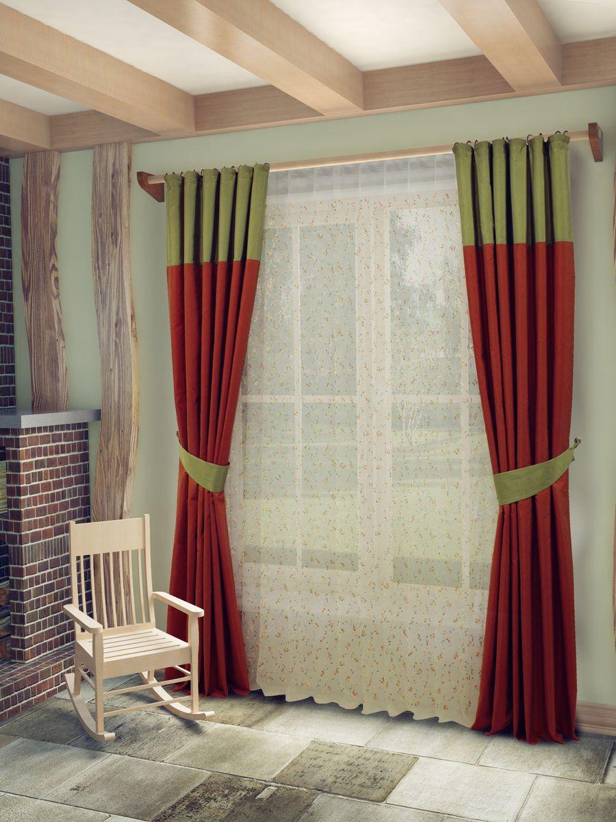 Комплект штор Sanpa Home Collection Берна, на ленте, цвет: зеленый, терракотовый, высота 260 смS03301004Комплект штор Берна, выполненный из полиэстера, великолепно украсит любое окно. Комплект состоит из тюля, двух штор и двух подхватов. Оригинальный рисунок и приятная цветовая гамма привлекут к себе внимание и органично впишутся в интерьер помещения. Этот комплект будет долгое время радовать вас и вашу семью!В комплект входит: Тюль: 1 шт. Размер (Ш х В): 400 см х 260 см. Штора: 2 шт. Размер (Ш х В): 180 см х 260 см.Подхват: 2 шт.