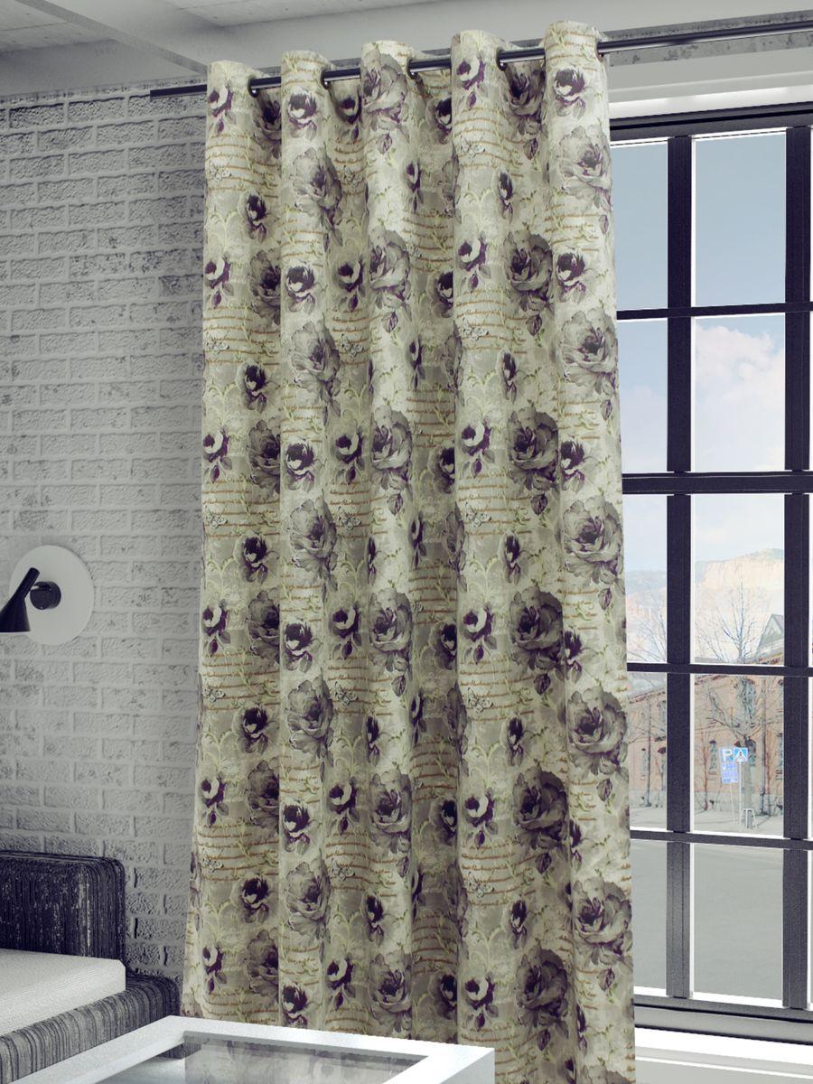 Штора Sanpa Home Collection Гелана, на люверсах, цвет: серый, сиреневый, высота 260 смS03301004Штора Гелана с оригинальным рисунком изготовлена из искусственного льна.Шторы – неотъемлемая часть интерьера и грамотно подобранная ткань подчеркнёт индивидуальность вашего интерьера, добавит уюта и комфорта.Изделие оснащено металлическими люверсами для подвешивания на карниз-трубу, которые гармонично смотрятся и легко скользят по карнизу. Штора на люверсах идеально подойдет для гостиной или спальни и великолепно украсит любое окно.