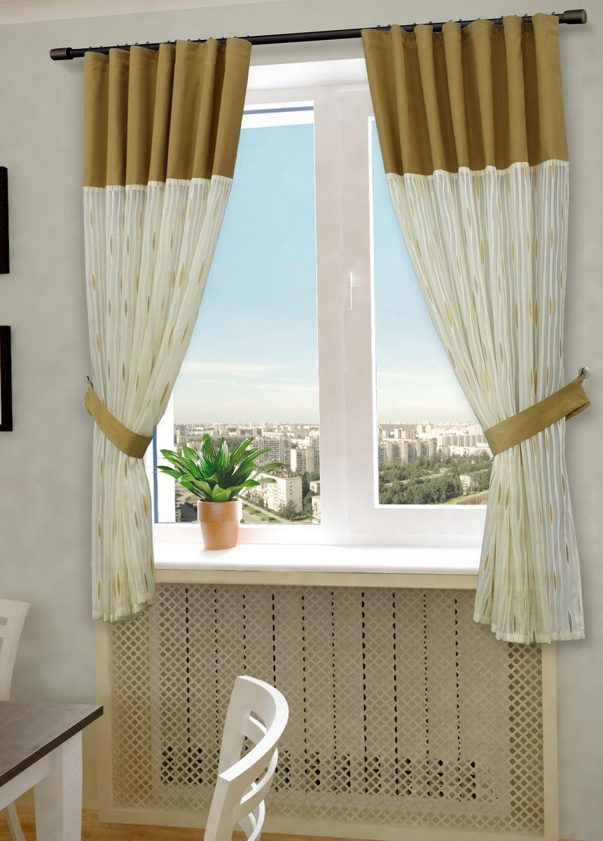Комплект штор Sanpa Home Collection Делис, на ленте, цвет: бежевый, оранжевый, высота 180 смКШДелис(3) беж-оранжев, , 145*180 +подхватыКомплект штор Делис, выполненный из жаккарда, великолепно украсит любое окно. Комплект состоит из двух штор и двух подхватов. Оригинальный рисунок и приятная цветовая гамма привлекут к себе внимание и органично впишутся в интерьер помещения. Этот комплект будет долгое время радовать вас и вашу семью! В комплект входит: Штора: 2 шт. Размер (Ш х В): 145 см х 180 см. Подхват: 2 шт.