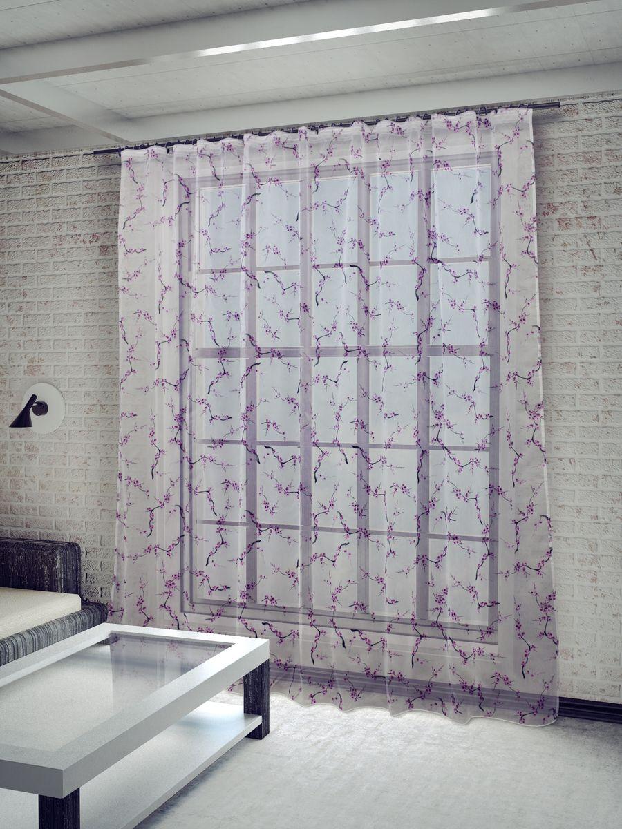 Тюль Sanpa Home Collection Сакура, на ленте, цвет: сиреневый, высота 260 смHP8270/3/1E Сакура сиреневый, , 300*260 см