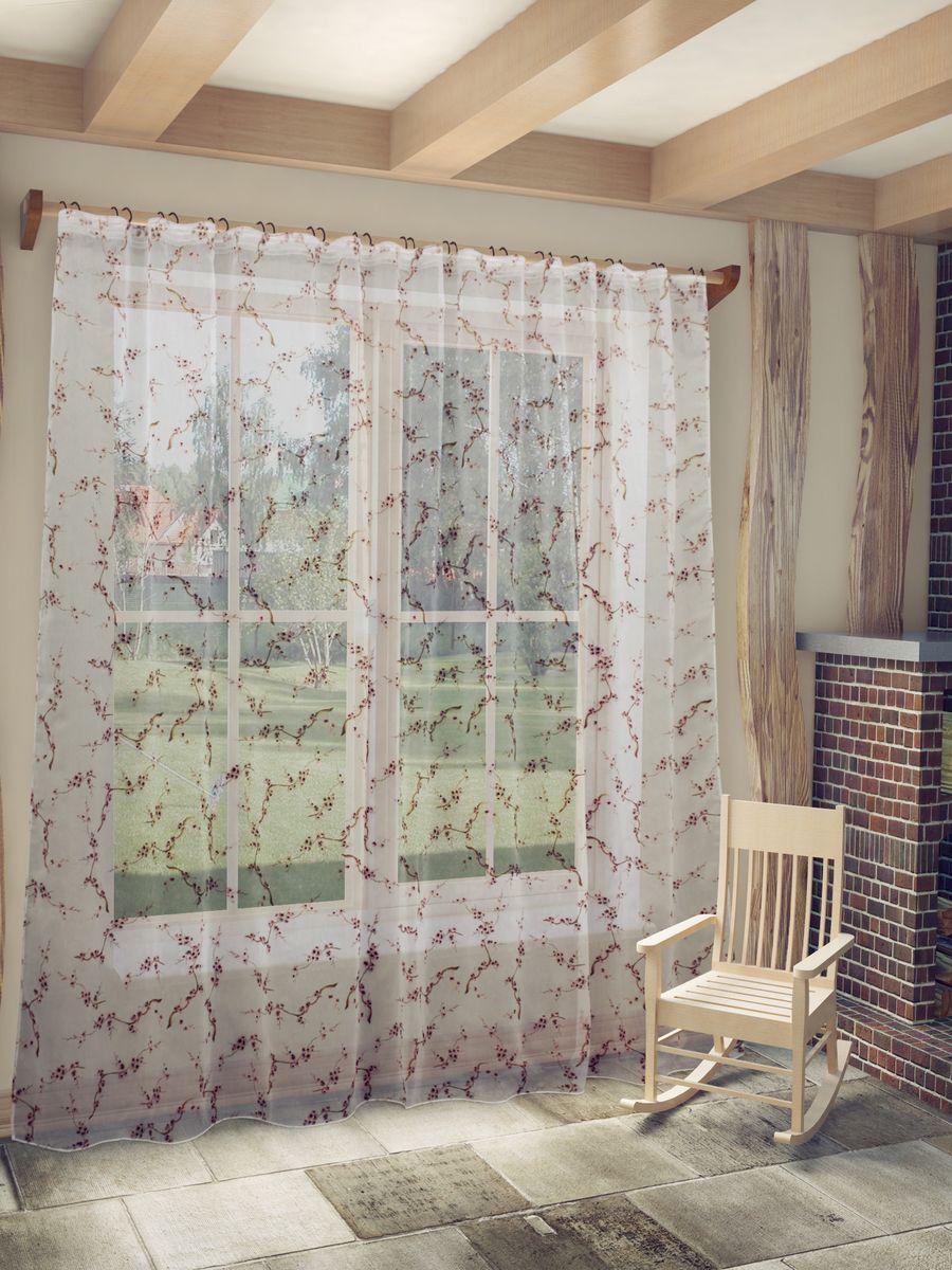 Тюль Sanpa Home Collection Сакура, на ленте, цвет: темно-розовый, высота 260 смHP8270/4/1E Сакура т.розовый, , 300*260 см
