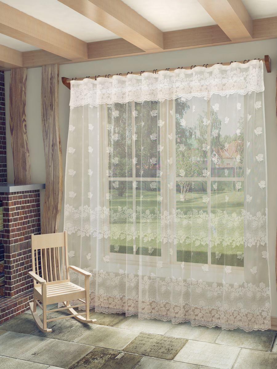 Тюль Sanpa Home Collection Арабела, на ленте, цвет: белый, высота 250 смHP18393/250/1E Арабела белый, , 300*250+ламбрекен