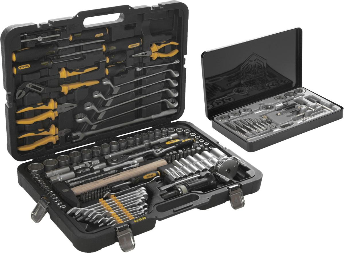 Набор инструментов Berger, 131 предмет + ПОДАРОК: Набор плашек и метчиков Berger, 21 предметBG-3006Профессиональные слесарно-монтажные инструменты Berger, входящие в набор, выполнены из высококачественной инструментальной хромованадиевой стали. Изготовлены по уникальной технологии закаливания и гальванизации. В комплект входят торцевые головки с профилем Super Lock. Работают с метрическим и дюймовым крепежом. Легко отворачивают крепеж с сорванными гранями. Фрикционные насечки предотвращают выскальзывание торцевой головки из руки. Ручки предметов изготовлены из высокотехнологичного пластика и резины. Не деформируются при работе, устойчивы к воздействию масла и бензина. Эргономичная форма рукояток удобно фиксируется в руке и не скользит. Трещотки имеют 45 зубов. Усиленный механизм выдерживает серьезные нагрузки. Трещотки можно разбирать для смазки или замены механизма. В комплект входит оригинальный и стильный кейс, изготовленный из высокотехнологичного пластика. Ударопрочный и морозостойкий. Инструмент четко фиксируется в пазах. Металлические замки не...
