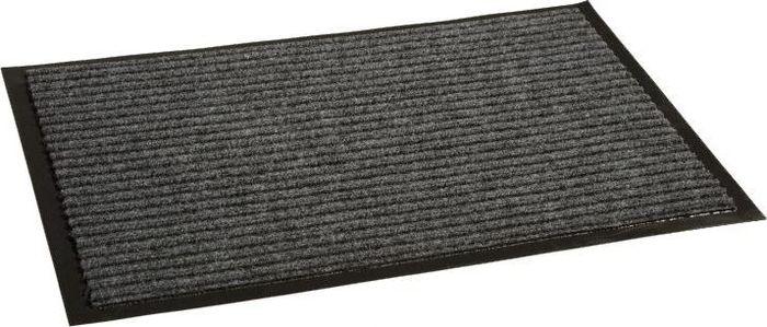 Коврик придверный InLoran Стандарт, влаговпитывающий, ребристый, цвет: серый, 40 х 60 см10-464Высота покрытия ~10 мм, иглопробивной петлевой ворс, удержание влаги и грязи на 1квадратный метр до 5 кг, материал изготовления - полиамид, винил