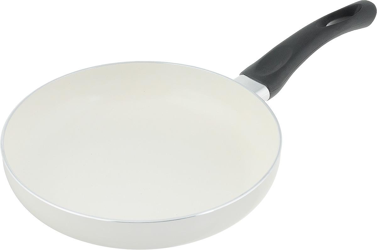Сковорода NaturePan Еco-Line, с керамическим антипригарным покрытием. Диаметр 22 смEP22Сковорода NaturePan Еco-Line выполнена из алюминия и имеет современное керамическое антипригарное покрытие. Внешняя термостойкая эмаль обеспечивает легкую чистку. Эргономичная пластиковая ручка, не нагревается, не скользит в руке и приятна на ощупь. Подходит для керамических, электрических, газовых плит, галогеновых конфорок. Разрешена ручная мойка. Диаметр: 22 см, Высота стенки: 4 см, Длина ручки: 17 см.