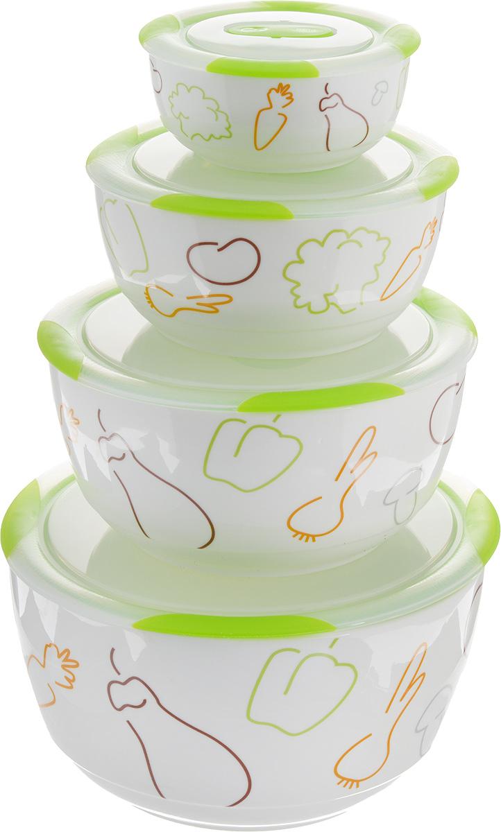 Набор мисок Oursson Bon Appetit, с крышками, цвет: зеленое яблоко, белый, 4 штBS5980RC/GAНабор Oursson состоит из четырех мисок разного размера, выполненных из керамики и оформленных рисунком. Керамика, из которой изготовлены емкости, выдерживает температуру до 250°С, поэтому подать блюда на стол можно сразу после приготовления в микроволновой печи или духовом шкафу. Миски снабжены плотно закрывающимися пластиковыми крышками с технологией Clip Fresh. Такой набор прекрасно подходит для хранения продуктов и соусов без проливания, которые не прольются при переноске благодаря силиконовому уплотнителю, обеспечивающему 100% герметичность. Миски являются универсальным приобретением для любой кухни. С их помощью можно готовить блюда, хранить продукты и даже сервировать стол. Оригинальный дизайн, высокое качество и функциональность набора Oursson позволят ему стать достойным дополнением к вашему кухонному инвентарю. Можно мыть в посудомоечной машине. Характеристика емкости №1: Объем: 3 л. Высота стенки: 11,2 см. Диаметр (по...