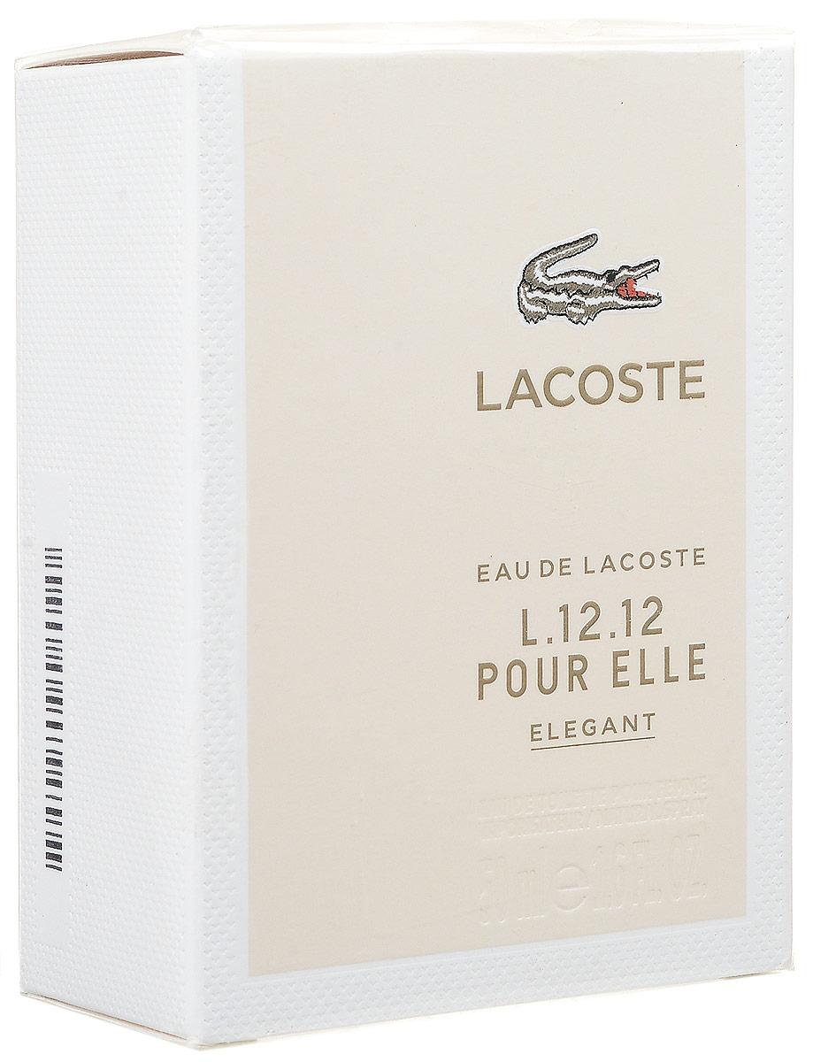 LACOSTE Eau de Lacoste L.12.12 Pour Elle Elegant Туалетная вода 50 мл0730870124512Свежий и классический парфюм, универсальный и приятный. Фруктово-цитрусовые ноты начала композиции объединяются с легким пряным аккордом, а их яркость смягчается нежностью цветов. Древесно-пудровый характер базы привносит теплоту и чувственность. Верхняя нота: кокосовое молоко. Средняя нота: жасмин-самбак и белые цветы. Шлейф: корень ириса. Elegant - непринужденный, излучающий уверенность, классический, но вместе с тем современный и актуальный. Дневной и вечерний аромат.