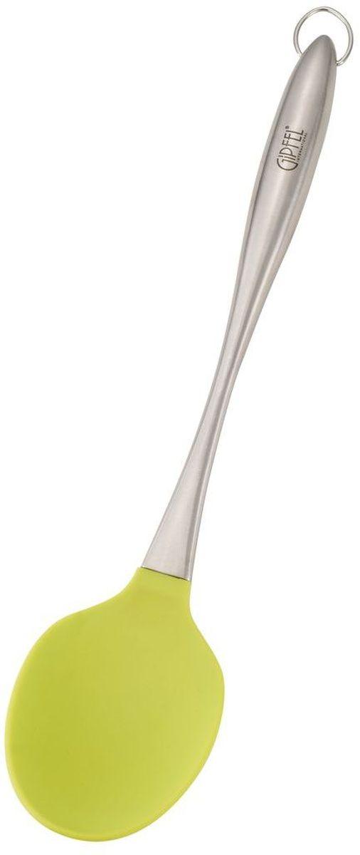 Ложка кулинарная Gipfel, цвет: зеленый, длина 31 см0243Посуда Gipfel изготовлена только из качественных, экологически чистых материалов. Также уделяется особое внимание дизайну продукции, способному удовлетворять вкусы даже самых взыскательных покупателей. Сталь 8/10, из которой изготавливается посуда и аксессуары Gipfel, является уникальной. Она отличается высокими эксплуатационными характеристиками и крайне устойчива к физическим воздействиям. Сложно найти более подходящий для создания качественной кухонной посуды материал. Отличительной чертой металлической посуды, выполненной из подобной стали, является характерный сероватый оттенок поверхности и особый блеск. Это позволяет приготовить более здоровую пищу.