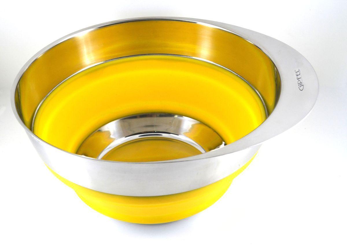 Миска Gipfel, складная, цвет: желтый, диаметр 25,4 см2606Посуда Gipfel изготовлена только из качественных, экологически чистых материалов. Также уделяется особое внимание дизайну продукции, способному удовлетворять вкусы даже самых взыскательных покупателей. Сталь 8/10, из которой изготавливается посуда и аксессуары Gipfel, является уникальной. Она отличается высокими эксплуатационными характеристиками и крайне устойчива к физическим воздействиям. Сложно найти более подходящий для создания качественной кухонной посуды материал. Отличительной чертой металлической посуды, выполненной из подобной стали, является характерный сероватый оттенок поверхности и особый блеск. Это позволяет приготовить более здоровую пищу.