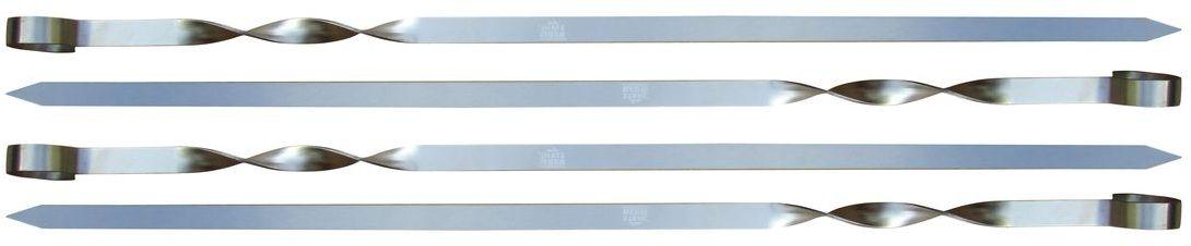 Набор шампуров Stahlberg, 4 штGESS-306Посуда STAHLBERG изготовлена только из качественных, экологически чистых материалов. Также уделяется особое внимание дизайну продукции, способному удовлетворять вкусы даже самых взыскательных покупателей. Сталь 8/10, из которой изготавливается посуда и аксессуары STAHLBERG, является уникальной. Она отличается высокими эксплуатационными характеристиками и крайне устойчива к физическим воздействиям. Сложно найти более подходящий для создания качественной кухонной посуды материал. Отличительной чертой металлической посуды, выполненной из подобной стали, является характерный сероватый оттенок поверхности и особый блеск. Это позволяет приготовить более здоровую пищу.