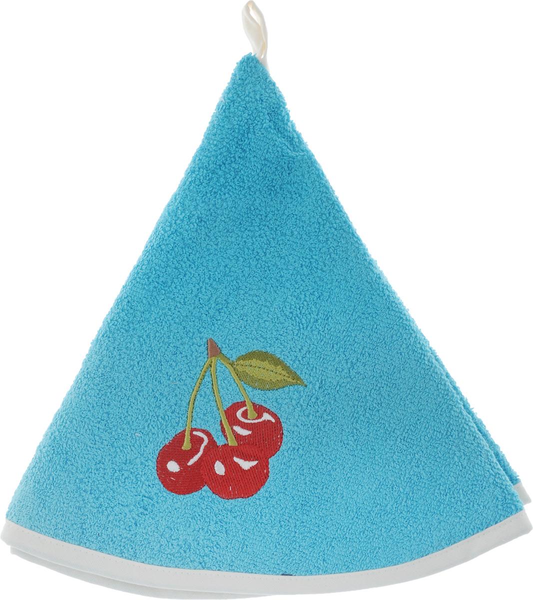 Полотенце кухонное Karna Zelina, цвет: голубой, диаметр 50 см504/CHAR004_голубой, вишняКруглое кухонное полотенце Karna Zelina изготовлено из махровой ткани (100% хлопок), поэтому является экологически чистым. Качество материала гарантирует безопасность не только взрослым, но и самым маленьким членам семьи. Изделие мягкое и приятное на ощупь, оснащено удобной петелькой и украшено оригинальной вышивкой. Полотенце хорошо впитывает влагу, легко стирается в стиральной машине и обладает высокой износоустойчивостью. Кухонное полотенце Karna Zelina сделает интерьер вашей кухни стильным и гармоничным. Диаметр полотенца: 50 см.