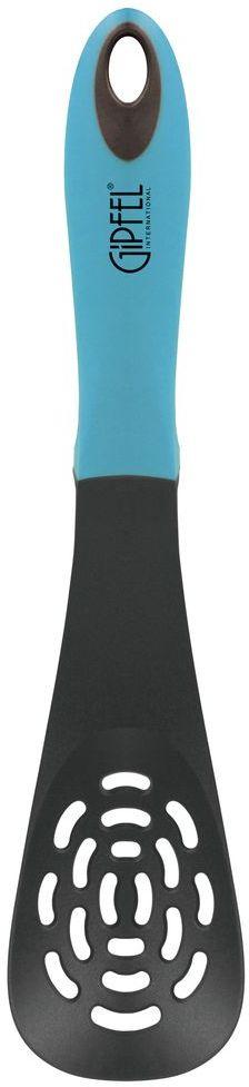 Лопатка кулинарная Gipfel Comfort, с прорезями, цвет: голубой, длина 30,9 смCM000001326Посуда Gipfel изготовлена только из качественных, экологически чистых материалов. Также уделяется особое внимание дизайну продукции, способному удовлетворять вкусы даже самых взыскательных покупателей. Сталь 8/10, из которой изготавливается посуда и аксессуары Gipfel, является уникальной. Она отличается высокими эксплуатационными характеристиками и крайне устойчива к физическим воздействиям. Сложно найти более подходящий для создания качественной кухонной посуды материал. Отличительной чертой металлической посуды, выполненной из подобной стали, является характерный сероватый оттенок поверхности и особый блеск. Это позволяет приготовить более здоровую пищу.