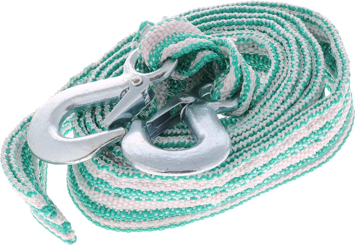 Трос буксировочный Azard, ленточный, с 2 крюками, цвет: зеленый, белый, 3,5 т, 4,5 мТР000006_зеленый, белыйБуксировочный трос Azard представляет собой ленту из сверхпрочной полиамидной (капроновой) нити и два металлических крюка. Специальное плетение ленты обеспечивает эластичность троса и плавный старт автомобиля при буксировке. На протяжении всего срока службы не меняет свои линейные размеры. Трос морозостойкий, влагостойкий и устойчив к агрессивным средами воздействию нефтепродуктов. Длина троса соответствует ПДД РФ. Буксировочный трос обязательно должен быть в каждом автомобиле. Он необходим на случай аварийной ситуации или если ваш автомобиль застрял на бездорожье. Максимальная нагрузка: 3,5 т. Длина троса: 4,5 м.