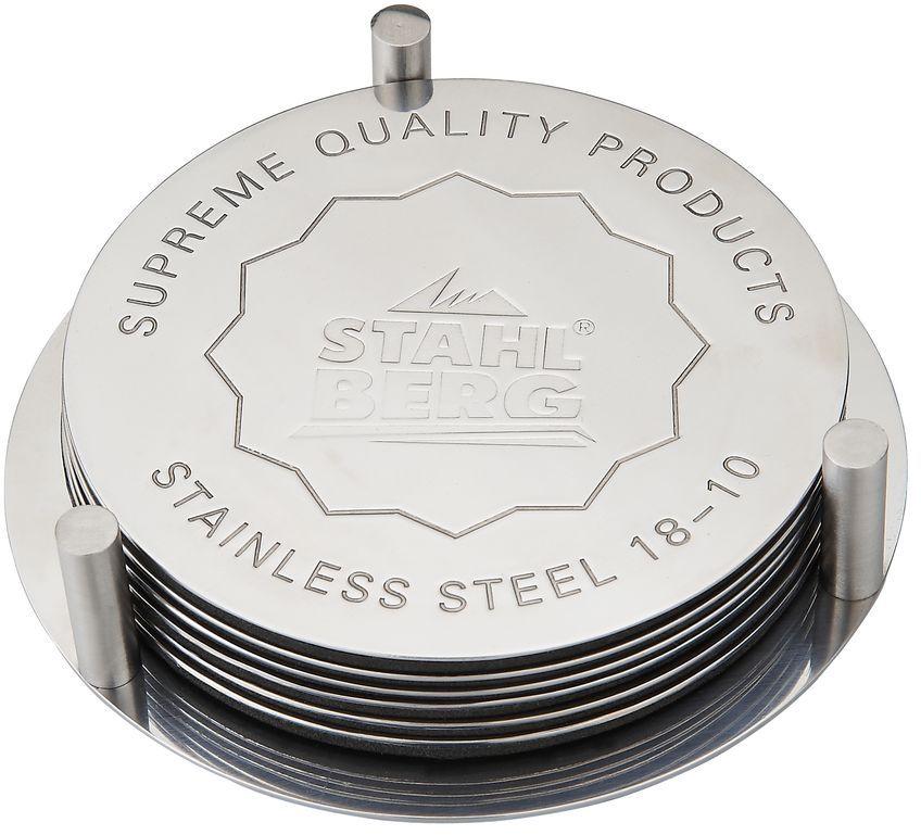 Набор подставок под горячее Stahlberg, диаметр 10 см9304-SПосуда STAHLBERG изготовлена только из качественных, экологически чистых материалов. Также уделяется особое внимание дизайну продукции, способному удовлетворять вкусы даже самых взыскательных покупателей. Сталь 8/10, из которой изготавливается посуда и аксессуары STAHLBERG, является уникальной. Она отличается высокими эксплуатационными характеристиками и крайне устойчива к физическим воздействиям. Сложно найти более подходящий для создания качественной кухонной посуды материал. Отличительной чертой металлической посуды, выполненной из подобной стали, является характерный сероватый оттенок поверхности и особый блеск. Это позволяет приготовить более здоровую пищу.