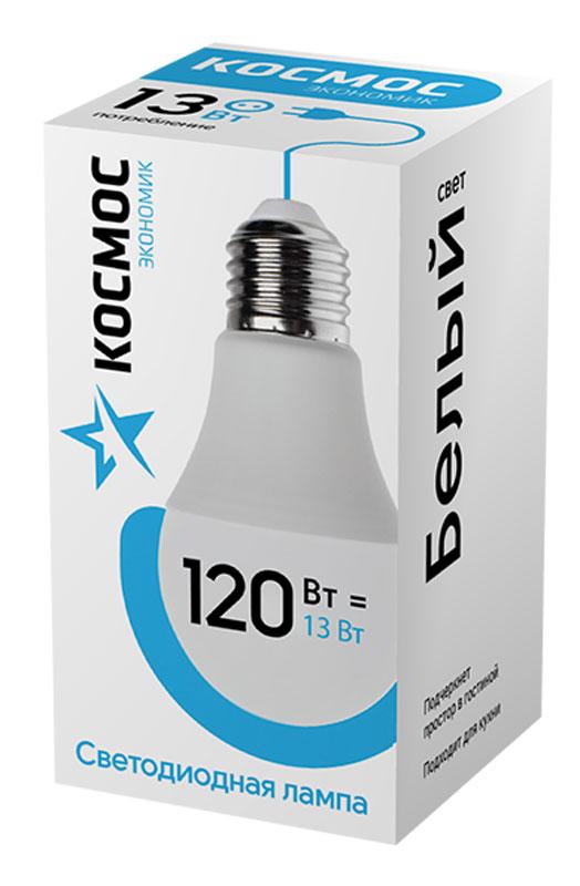 Лампа светодиодная Космос Экономик, 220V, А60, холодный свет, цоколь Е27, 13WLkecLED13wA60E2745Светодиодная лампа КОСМОС Замена стандартных ламп накаливания 120W Модель: А60 (ГРУША) Цоколь: Стандарт (Е27) Потребляемая мощность: 13W Световой поток, лм: 1150 Светодиоды: LED SMD 2835 Чип: Epistar Индекс цветопередачи: Ra>70 Напряжение: 220V Угол, град: 270 Размер лампы (мм): 60 х 110 Срок службы до 25 000 часов Температура использования -40+40С Цветность – 4500K Специальные возможности/особенности: СВЕТОДИОДНАЯ ЛАМПА А60 ( ГРУША ) 13 Вт серии Космос Экономик является аналогом лампы накаливания 120 Вт. В основе лампы используются чипы от мирового лидера Epistar- что обеспечивает надежную и стабильную работу в течение всего срока службы (25 000 часов). До 90% экономии энергии по сравнению с обычной лампой накаливания (сопоставимы по размеру); стабильный световой поток в течение всего срока службы; экологическая безопасность (не содержит ртути и тяжелых металлов); мягкое и равномерное распределение света повышает зрительный комфорт...