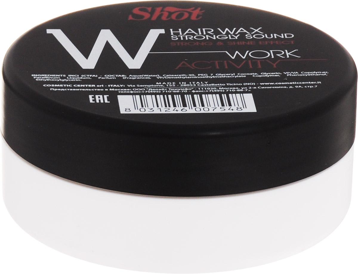Shot Work Activity Hair Wax Strongly Shine Effect - Воск сильной фиксации и эффектом блеска 100 млSHWA113Идеально подходит для моделирования коротких стрижек и эпатажных укладок на базе волос средней длины. За счет натурального состава, основанного на сочетании пчелиного и фруктовых восков, средство мягко обволакивает каждый волосок тончайшим слоем, который надежно фиксирует форму прически, защищает локоны от температурного негатива и механических повреждений, а также наполняет гламурным глянцевым блеском. С каждым использованием улучшает состояние локонов. Содержит натуральный кератин, коллаген и витамины. Реконструирует поврежденные участки волосяного стержня, делает пряди сильными и шелковистыми.