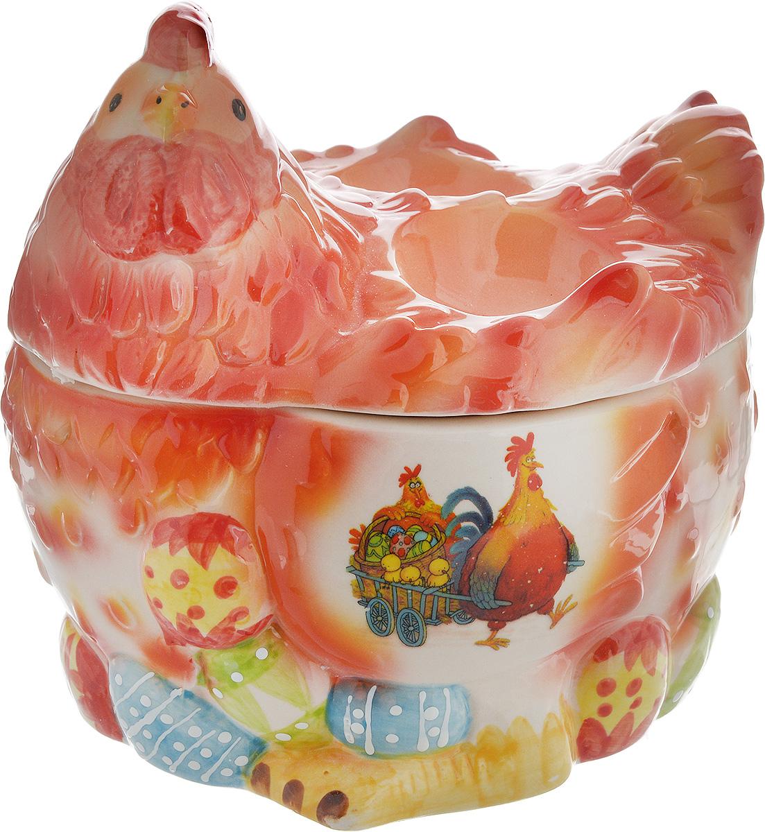 Ваза Win Max Курочка, для пасхальных яиц и угощений, 16 х 17 х 14 см14027Ваза Win Max изготовлена из высококачественной керамики с глазурованным покрытием и оформлена рельефным рисунком. Изделие дополнено крышкой, которая выполнена в виде фигурки курочки. На крышке расположены две подставки для яиц. Оригинальный дизайн украсит интерьер вашей кухни, а функциональность порадует любую хозяйку. Размеры емкости (без учета крышки): 16 х 13х 9 см Высота крышки: 9 см