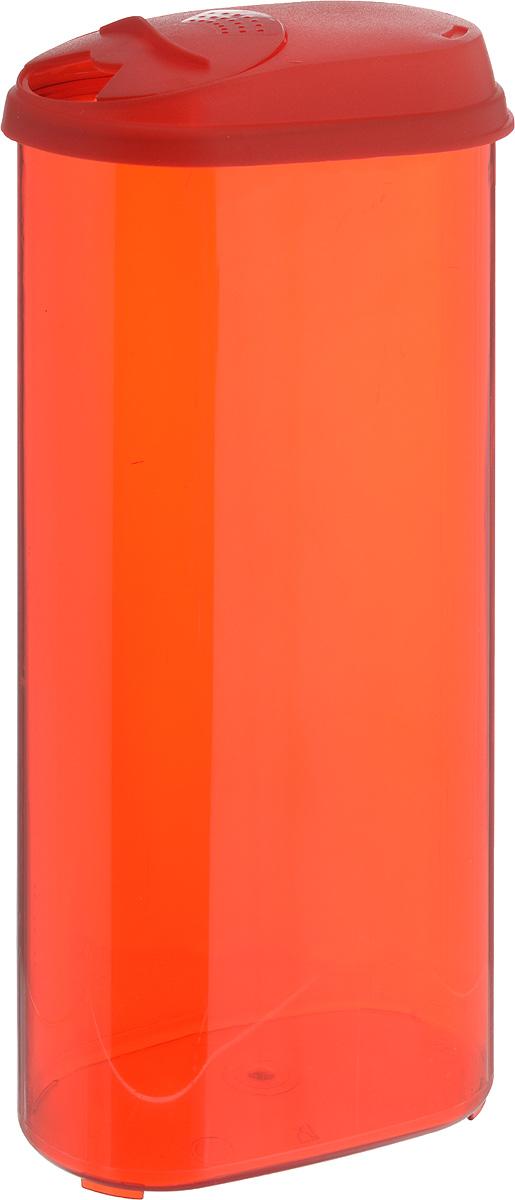 Банка для сыпучих продуктов Giaretti, с дозатором, цвет: красный, 2,4 лGR3612_красныйБанка для сыпучих продуктов Giaretti выполнена из высококачественного пластика. Банка предназначена для хранения круп, сахара, макаронных изделий и в том числе для продуктов с ярким ароматом (специи и прочее). Плотно прилегающая крышка не пропускает запахи содержимого в шкаф для хранения, при этом продукт не теряет своего аромата. Двойной дозатор предназначен для мелких и крупных сыпучих продуктов. Можно мыть в посудомоечной машине. Объем: 2,4 л. Диаметр (по верхнему краю): 14,5 x 8,5 см. Высота (с учетом крышки): 30 см.