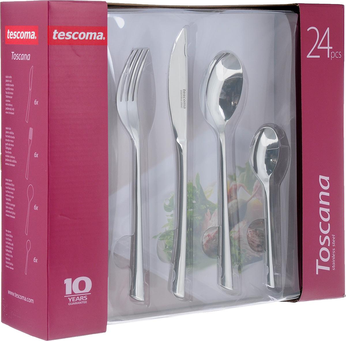 Набор столовых приборов Tescoma Toscana, 24 предмета397006Набор столовых приборов Tescoma Toscana включает 24 предмета: 6 столовых ножей, 6 столовых ложек, 6 столовых вилок и 6 чайных ложек. Приборы выполнены из прочной нержавеющей стали, которая придает столовым приборам блеск, а ножам необходимую остроту. Набор Tescoma Toscana поставляется в изящной упаковке и может служить готовым праздничным подарком! Создайте атмосферу уюта и праздника с безупречными столовыми приборами Tescoma Toscana. Изделия можно мыть в посудомоечной машине. Длина столовой ложки: 20 см. Размер рабочей части ложки: 4,5 х 6,5 см. Длина столовой вилки: 20,5 см. Размер рабочей части вилки: 2,3 х 6 см. Длина столового ножа: 22 см. Размер рабочей части ножа: 2 х 9 см. Длина чайной ложки: 13,2 см. Размер рабочей части чайной ложки: 3 х 4,5 см.