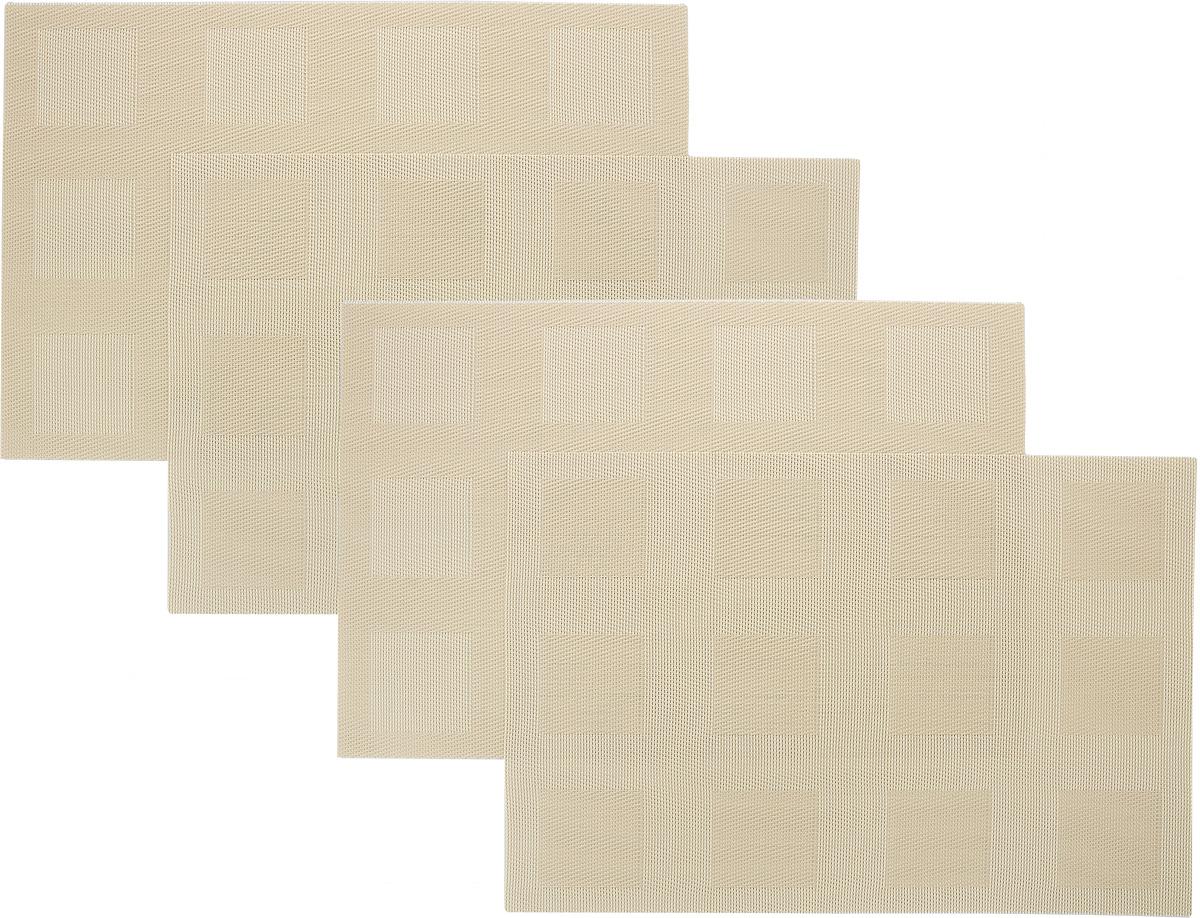Набор сервировочных салфеток Oursson Клетка, цвет: бежевый, 30 х 45 см, 4 штHS89594/MCНабор Oursson Клетка состоит из 4 салфеток, изготовленных на 70% из ПВХ и на 30% из полиэстера, они не впитывают влагу и легко моются. Набор салфеток предназначен для сервировки стола и украшения интерьера кухни, столовой или гостиной. Для ухода за салфетками можно использовать любые моющие средства. Необычный дизайн, практичность и высокая износостойкость делают салфетки удобным и полезным аксессуаром для дома. Салфетка станет прекрасным завершающим элементом в сервировке стола. С ней любой ужин будет как праздничный. Размер: 30 х 45 см.