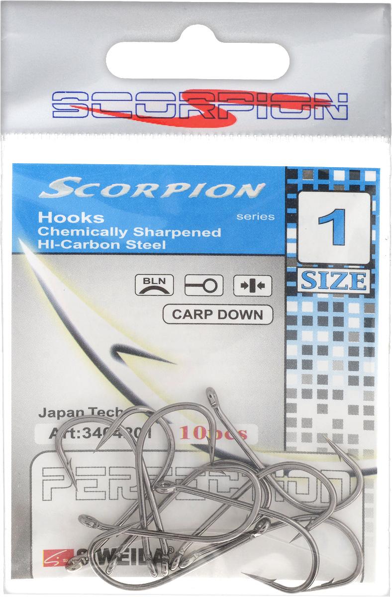 Крючок рыболовный SWD Scorpion, Carp Down, №1, 10 штH009Бюджетный одинарный крючок SWD Scorpion с колечком выполнен из высококачественной углеродистой легированной проволоки. Применяется новейшая технология термообработки. Стойкое антикоррозийное покрытие обеспечивает крючкам долгий срок эксплуатации. Жала крючков подвержены электрохимической обработке. Кованный поддев.