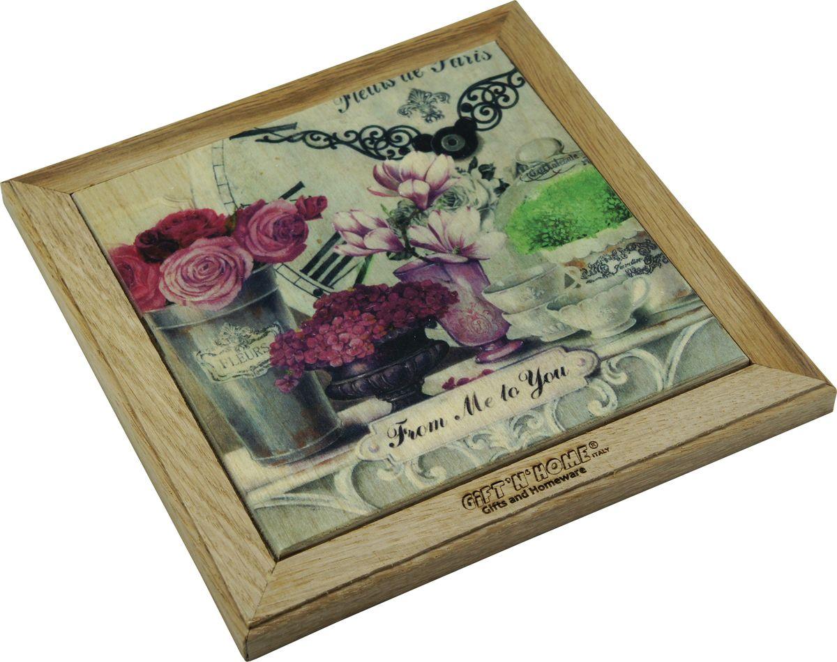 Подставка под горячее Giftnhome Парижские цветы, 27 х 20 смWTR-FleursПодставка из ценных пород древесины, дуб/ бук , с декоративной вставкой из качественной фанеры, с нанесением цветных фотопринтов. Данный товар несет двойную потребительскую функцию, обеспечивая декоративное и хозяйственное назначение. Он может быть использован для украшения помещений в качестве настенного панно и как подставка под горячую посуду.