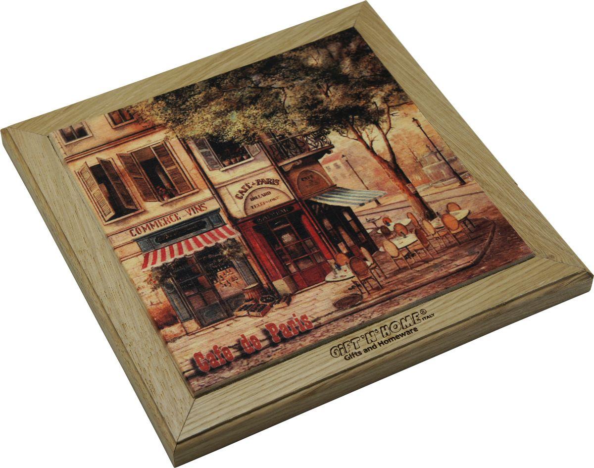 Подставка под горячее Giftnhome Парижское кафе, 33 х 20 смWTR-CafеПодставка из ценных пород древесины, дуб/ бук , с декоративной вставкой из качественной фанеры, с нанесением цветных фотопринтов. Данный товар несет двойную потребительскую функцию, обеспечивая декоративное и хозяйственное назначение. Он может быть использован для украшения помещений в качестве настенного панно и как подставка под горячую посуду.