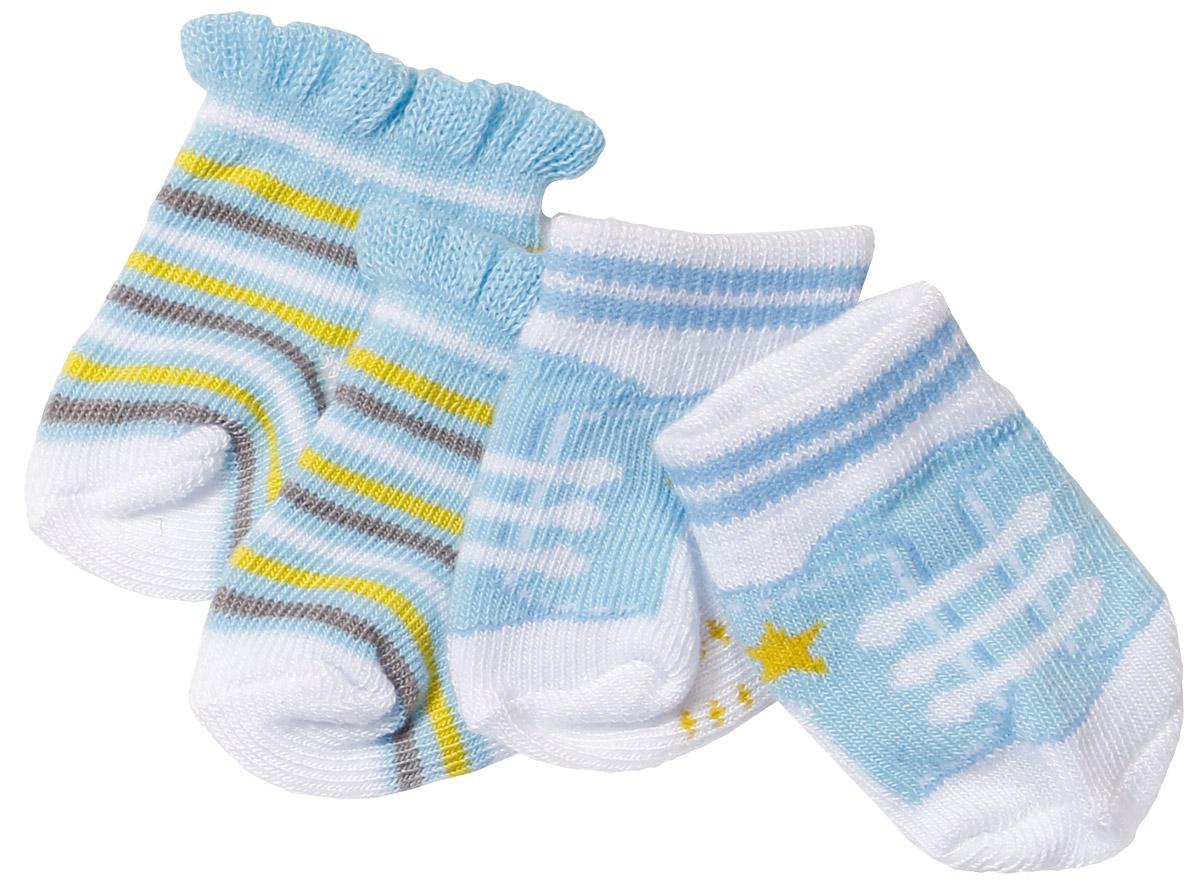 Baby Born Одежда для кукол Носочки 2 пары цвет голубой голубой, белый, салатовый 823-576_голубой, полоска