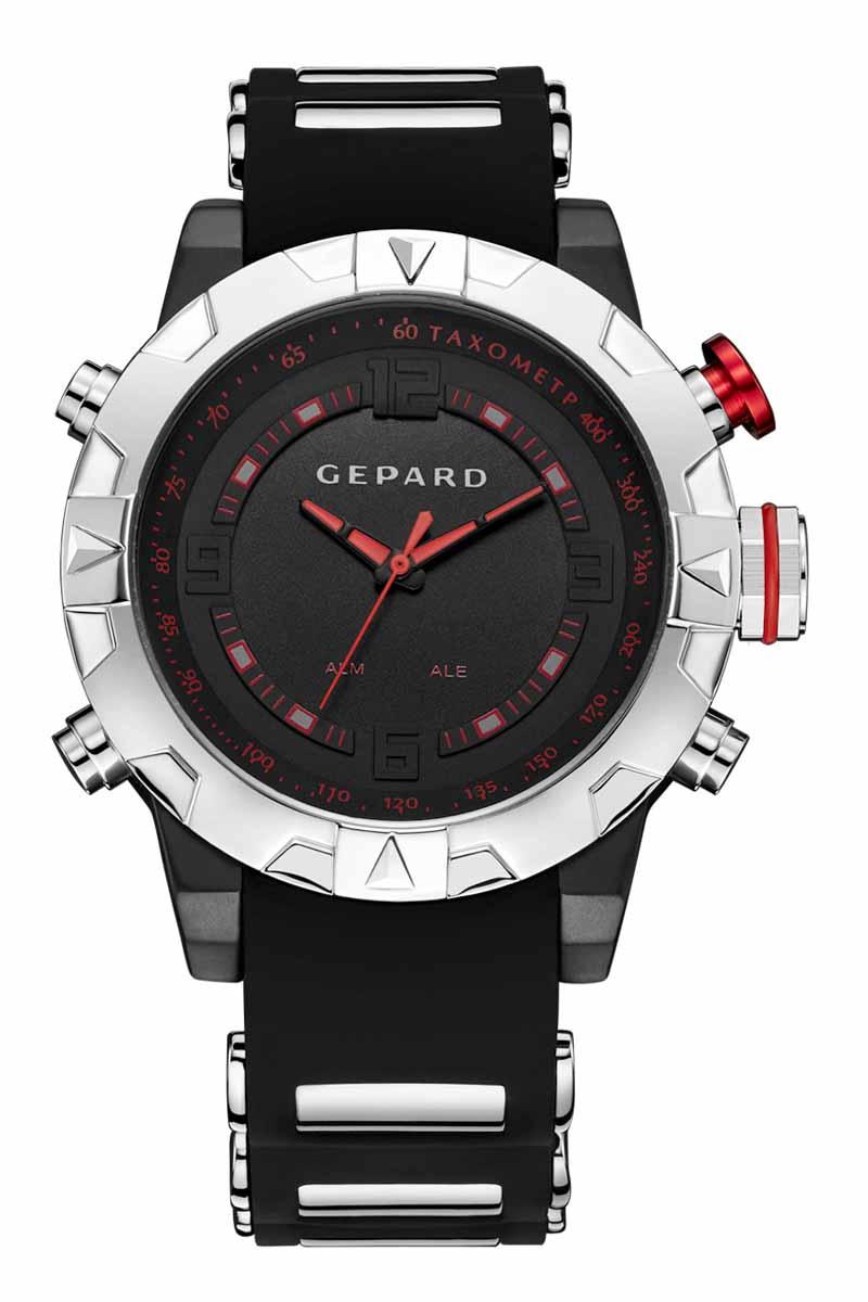 Часы наручные мужские Gepard, цвет: черный, серебристый. 1238A12L31238A12L3Наручные кварцевые часы Gepard выполнены из высококачественных материалов. Спортивный дизайн подчеркнут использованием двух абсолютно разных типов японских механизмов- аналогового и электронного. Яркие цифры, загорающиеся при нажатии любой из кнопок, крайне полезная функция. Часы выпускаются в крупном корпусе с коррозионностойким покрытием. Крупные детали венчика сочетаются со стальными элементами силиконового ремня. Контрастные красные стрелки аналогового механизма движутся вдоль объемной арабской часовой оцифровки и красной шкалы минутной дорожки.