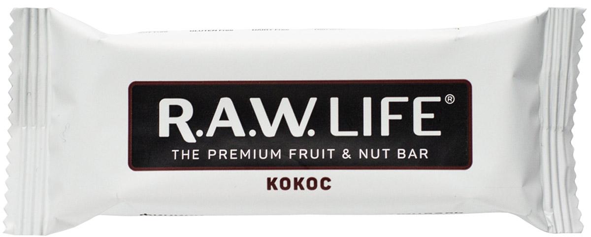 RAWLife Кокос батончик орехово-фруктовый, 47 г0120710Батончик RAWLife на треть состоит из восхитительного дробленого кокоса. Он содержит насыщенные кислоты, которые, попав в организм, моментально превращаются в чистую энергию! Финики, миндаль и кешью гармонично дополняют кокос, создавая неповторимый вкус, перед которым невозможно устоять.Уважаемые клиенты! Обращаем ваше внимание, что полный перечень состава продукта представлен на дополнительном изображении.