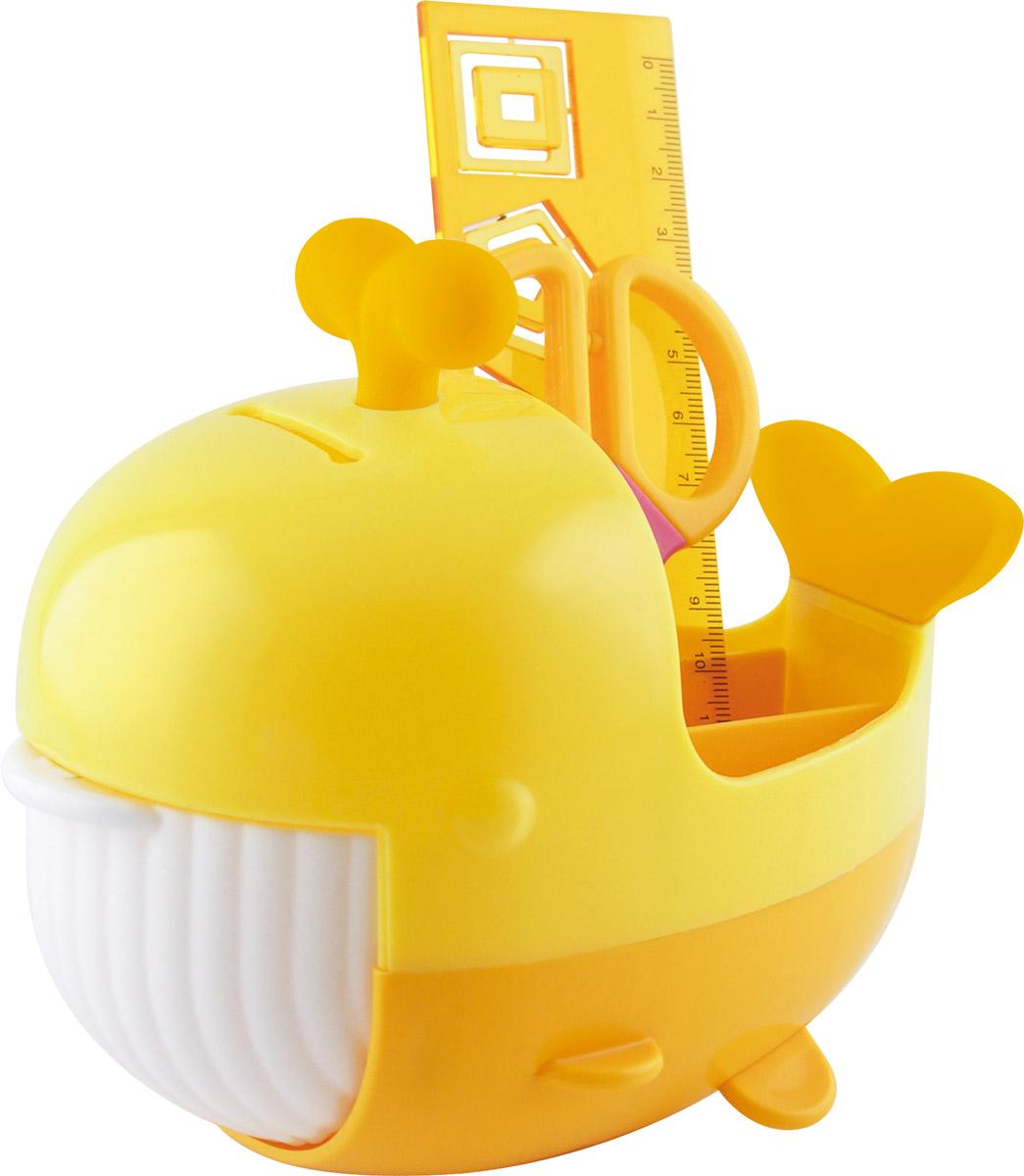 Brauberg Канцелярский набор Кит цвет желтый оранжевый 4 предмета231935_желтый,оранжевыйКанцелярский набор Brauberg Кит выполнен из высококачественного яркого пластика и позволяет практично, удобно и оригинально организовать место для учебы и развлечений ребенка. Подставка для канцелярских принадлежностей выполнена в виде кита с открывающейся пастью, внутри которой располагается дополнительное отделение для хранения. Хвост кита и фонтанчик на его голове являются съемными ластиками. В набор также входят сантиметровая линейка с вырубками-трафаретами в виде геометрических фигур, безопасные ножницы, ластик, канцелярские скрепки. Необычный канцелярский набор понравится любому школьнику и сделает учебу более интересной.